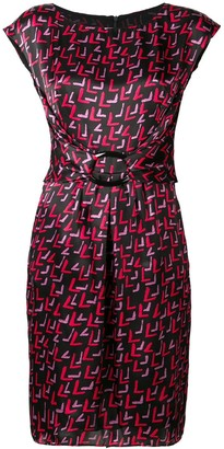 Emporio Armani geometric printed buckle dress