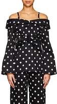 Marianna Senchina Women's Polka Dot Cotton Off-The-Shoulder Blouse