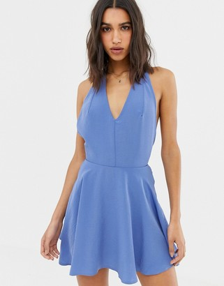 Love halterneck flippy skater dress-Blue