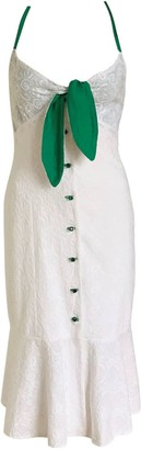 Anna Etter White Summer Cotton Dress Sofia With Green Glass Buttons