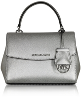 Michael Kors Ava Silver Saffiano Leather XS Crossbody Bag