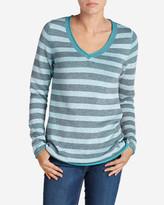 Eddie Bauer Women's Sweatshirt Sweater - Stripe V-Neck