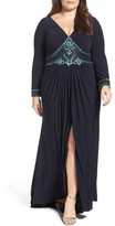 Mac Duggal Plus Size Women's Embellished A-Line Jersey Gown