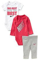 Nike Baby Girls Newborn-12 Months Long-Sleeve Bodysuit, Short-Sleeve Bodysuit & Pant Set