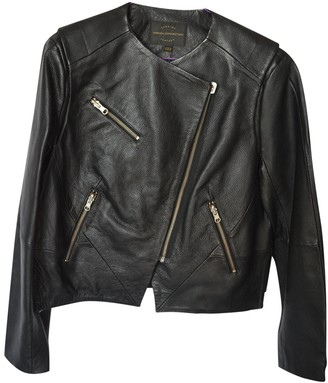 French Connection Black Leather Leather Jacket for Women