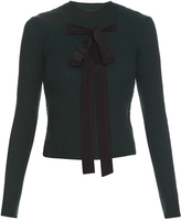 Rochas Bow-front ribbed-knit sweater