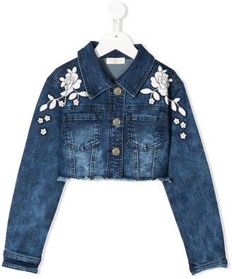 MonnaLisa Floral Embroidered Denim Jacket