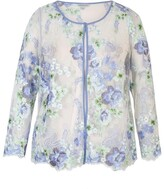 Chesca Floral Embroidered Mesh Jacket With Scallop Trim