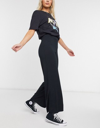New Look ribbed wide leg pant in black