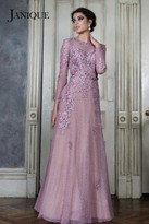 Janique - Long-Sleeved Illusion Evening Gown with Lace Appliques W1695