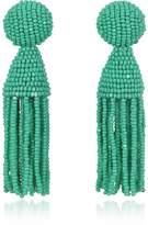 Oscar de la Renta Short Beaded Clip-On Tassel Earrings