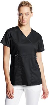 Cherokee Women's Scrubs Luxe Junior Fit Mock Wrap Top