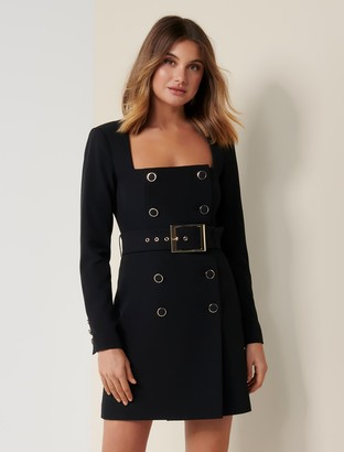 Forever New Brooklyn Buckle Blazer Dress - Black - 4