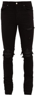 Amiri Mx1 Leather-insert Distressed Jeans - Black