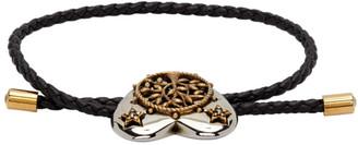 Alexander McQueen Black and Silver Heart Charm Bracelet