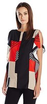 Calvin Klein Women's Printed Cape Sleeve Top