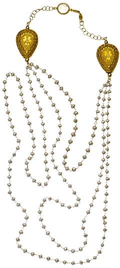 Jacqueline Pinto Three Row Gold Mother of Pearl Necklace