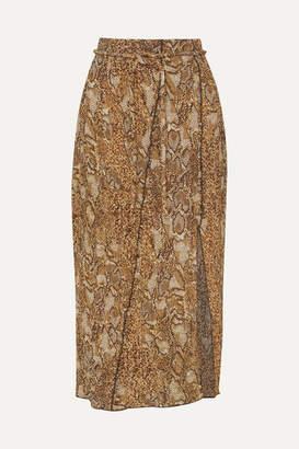 Nanushka Indira Snake-print Crinkled-voile Midi Skirt - Brown