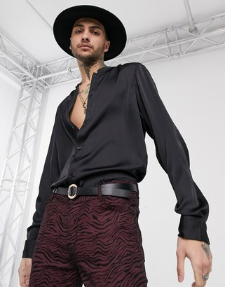 ASOS DESIGN regular fit mandarin collar satin shirt in black