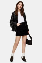 Topshop Womens Black Denim Mini Skirt - Black