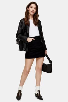 Topshop Womens Black Denim Mini Skirt - Black