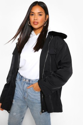 boohoo Faux Fur Collar Lightweight Parka