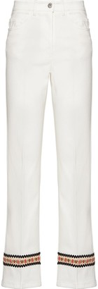 Miu Miu Floral Embroidery Cropped Jeans
