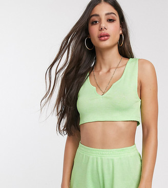 Asos DESIGN tall jersey waffle notch front beach crop top co ord in faded fluro green