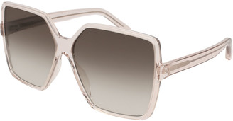 Saint Laurent SL 232 Betty Oversized Square Transparent Acetate Sunglasses, Nude