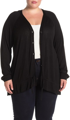 One A V-Neck Button Front Ruffled Cardigan