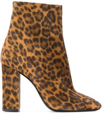 Saint Laurent Lou leopard print ankle boots