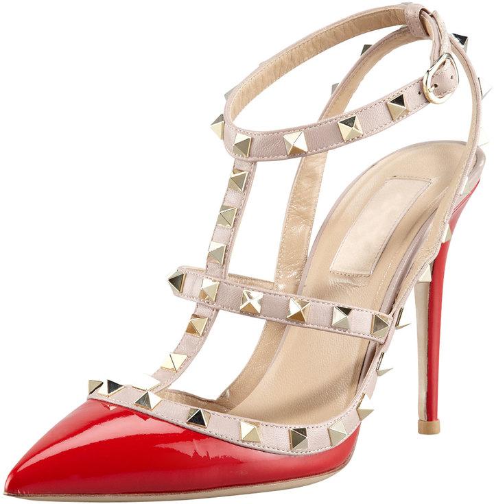 Valentino Rockstud Two-Tone Patent Sandal, Red
