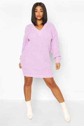 boohoo Plus Rib V-neck Jumper Dress