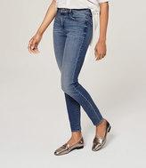 LOFT Petite Curvy High Waist Skinny Ankle Jeans in Waverly Blue Wash