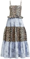 Ganni Leopard And Moon-print Tiered Poplin Midi Dress - Womens - Blue Multi