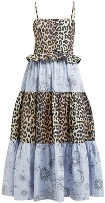 Ganni Leopard And Moon-print Tiered Poplin Midi Dress - Womens - Blue Multi