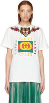 Gucci White loved Angry Cat Logo T-shirt