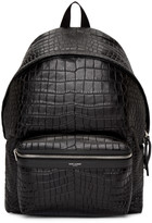 Saint Laurent Black Croc-Embossed Leather Backpack