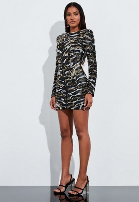 Missguided Black Animal Print Embellished Cut Out Mini Dress
