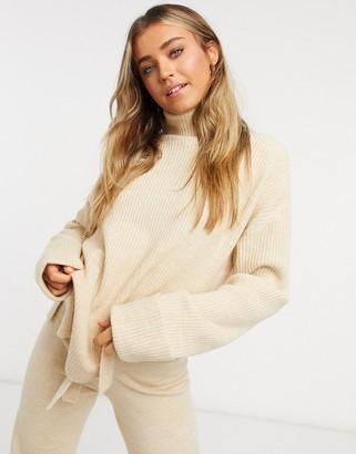 ASOS DESIGN set turtleneck sweater with slit detail in camel