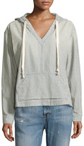Current/Elliott V-Neck Striped Denim Hoodie, Blue Hickory