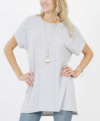 Lydiane Women's Tunics H - Heather Gray Crewneck Roll-Sleeve Side-Slit Tunic - Women