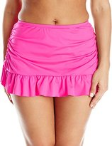 Kenneth Cole Reaction Kenneth Cole Women's Plus-Size Ruffle-Licous Ruched Skirted Bikini Bottom