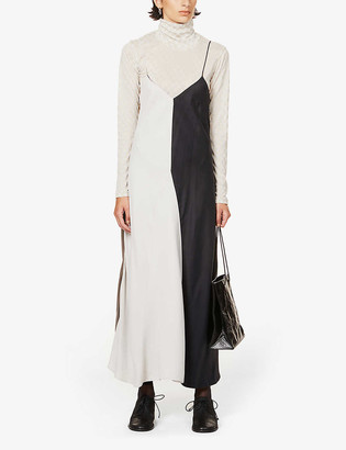 Song For The Mute Colour-block crepe maxi slip dress