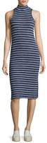 Splendid Mock-Neck Striped Midi Tank Dress, Navy