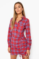 Thumbnail for your product : boohoo Rouched Fitted flannel Shirt Dress