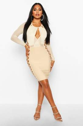boohoo Boutique Mesh Lace Side Extreme Bandage Dress