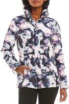 Eliza J Floral Satin Zip Front Down Jacket