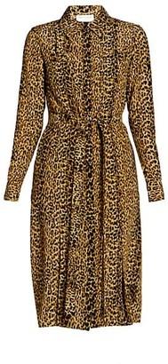 Saint Laurent Leopard-Print Silk Shirtdress