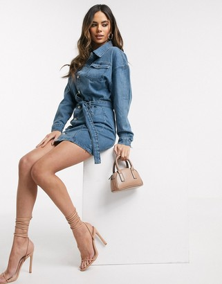 In The Style denim shirt dress in blue